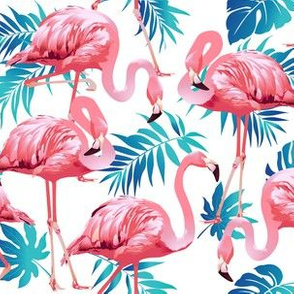Pink Flamingos on Teal Tropical Birds Tropical Plants