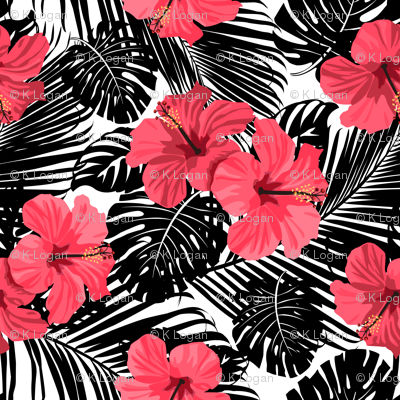Pink Hibiscus Black and While Tropical Palm Frawns Branches