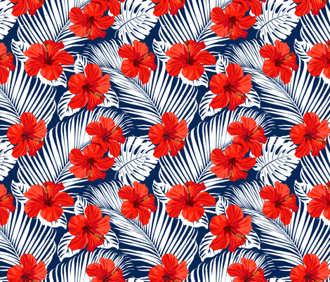 Topical Hawaii Watercolor Hibiscus Flowers Floral fabric by khaus on Spoonflower - custom fabric