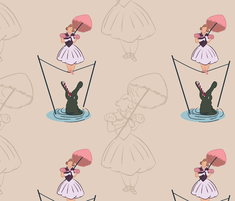 Haunted Mansion Tightrope Girl fabric by designs_by_miss_mandee on Spoonflower - custom fabric