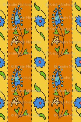 Suzani Narrow Stripe Yellow Orange Blue