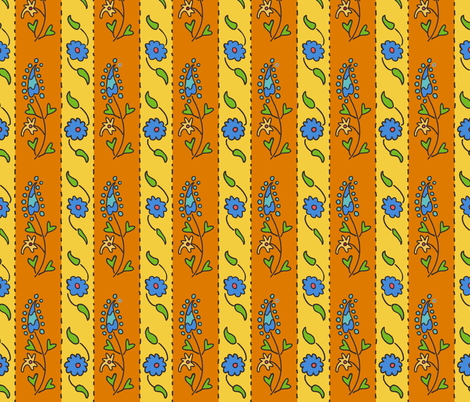 Suzani Narrow Stripe Yellow Orange Blue fabric by kristin_nicholas on Spoonflower - custom fabric