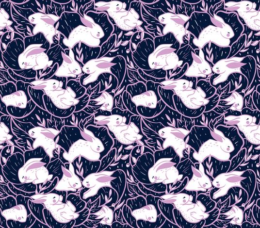 Where the bunnies sleep (miniature) fabric by elena_naylor on Spoonflower - custom fabric