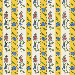 Suzani narrow stripe yellow, white, blue