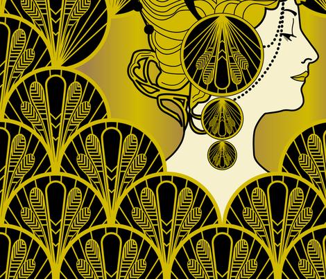 Art Deco Lady fabric by michaelakobyakov on Spoonflower - custom fabric