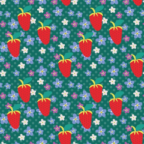 Summer Teal Polka Dots, Red Strawberries, Orchid flowers, tiny flowers, scattered flowers