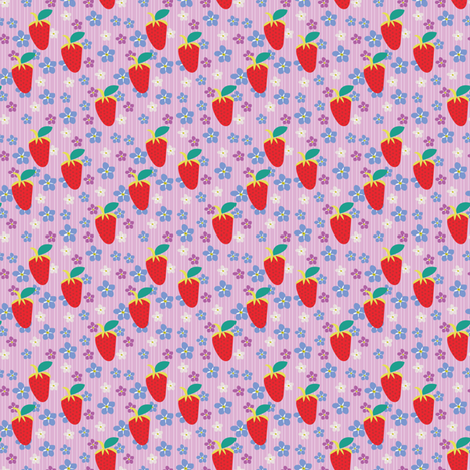 Summer Orchid Stripes, Pink Fabric, Violet Flowers, Red strawberries fabric by applebutterpattycake on Spoonflower - custom fabric