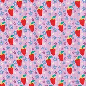 Summer Orchid Stripes, Pink Fabric, Violet Flowers, Red strawberries