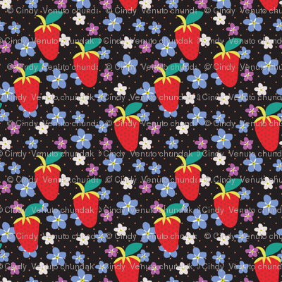 Summer Black Polka Dots, Black fabric, Strawberry fabric, Violet flowers, Scattered Flowers, Kitchen Fabric