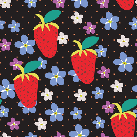 Summer Black Polka Dots, Black fabric, Strawberry fabric, Violet flowers, Scattered Flowers, Kitchen Fabric fabric by applebutterpattycake on Spoonflower - custom fabric