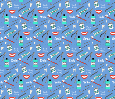 Dental Smiles Blue fabric by kaldreacollections on Spoonflower - custom fabric