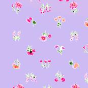 Springtime Violets and Roses