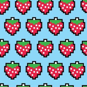 aloha 8 bit strawberry on light blue