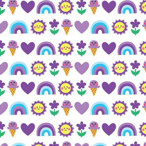ice cream heart rainbow purple