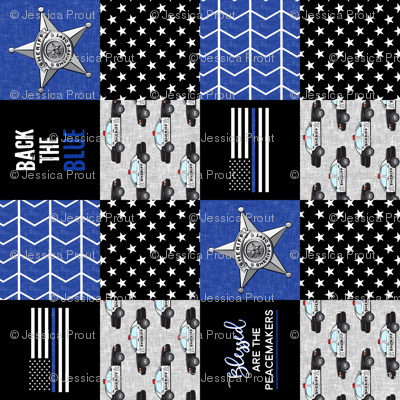 "(3"" small scale) Sheriff Patchwork  - Blessed are the peacemakers - thin blue line - back the blue wholecloth (90)"