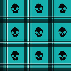 teal skull plaid