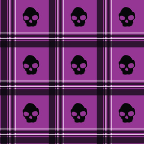 purple skull plaid