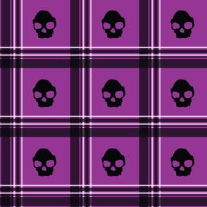 purple skull plaid