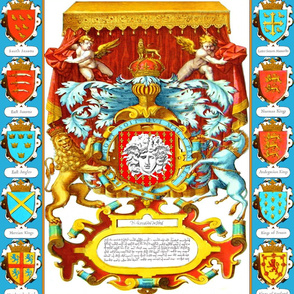 medusa Greek Greece Versace Inspired coat of arms heraldry cherub angels lions crowns leaves leaf acanthus knight armor unicorns baroque rococo kings Emperor throne canopy chains Baldachin medieval helmet shields phoenix mythical mythology crucifixes cros