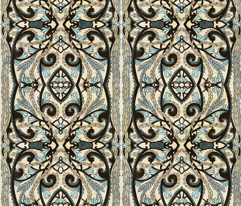 Art Deco blue lily fabric by ravens_spirit_song on Spoonflower - custom fabric