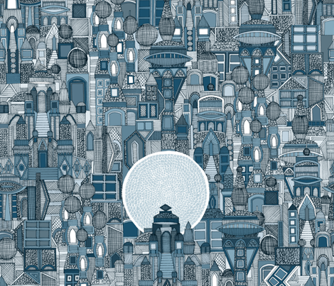 space city mono blue fabric by scrummy on Spoonflower - custom fabric