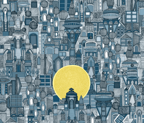 space city sun blue fabric by scrummy on Spoonflower - custom fabric