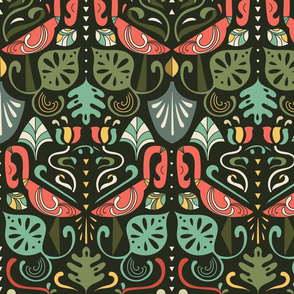 artdeco flamingos and tropical leaves design pattern 2