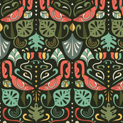 artdeco flamingos and tropical leaves design pattern 2