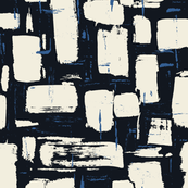Abstract Painted Brushstrokes—Black, Cream & Blue