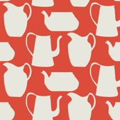 Teapots in red