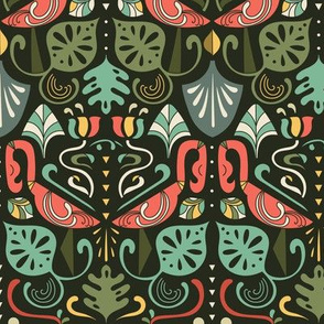 Artdeco flamingos and tropical leaves design pattern.