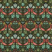Artdeco flamingos and tropical leaves design pattern.