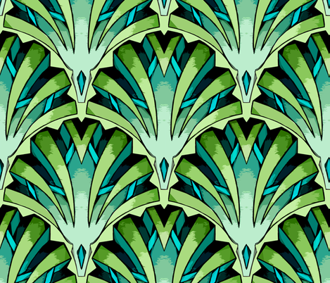 Art deco Jade fabric by marta_strausa on Spoonflower - custom fabric