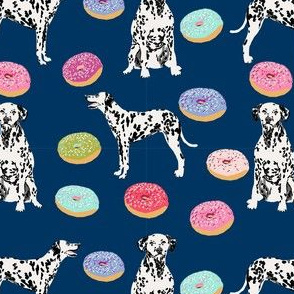 dalmatian donuts food dog breed fabric navy