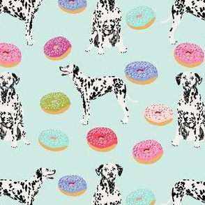 dalmatian donuts food dog breed fabric mint