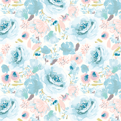 IBD EASTER BLUE BLOSSOMS B fabric by indybloomdesign on Spoonflower - custom fabric