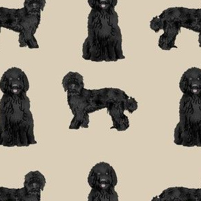 labradoodle dog fabric - black labradoodles design - tan