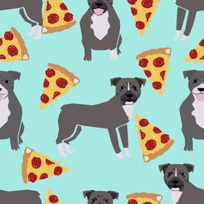 pitbull pizza fabric - blue pittys dog fabric cute pitbulls dog design - aqua