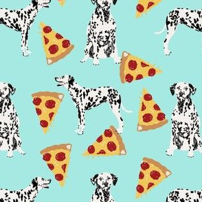 dalmatian food pizza design - cute dogs and pizza food print - aqua