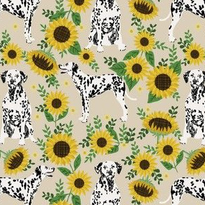 dalmatian sunflower fabric - dogs and florals design cute dog design  - sand