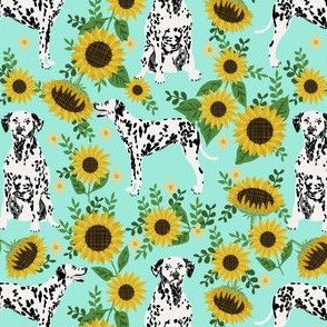dalmatian sunflower fabric - dogs and florals design cute dog design - aqua