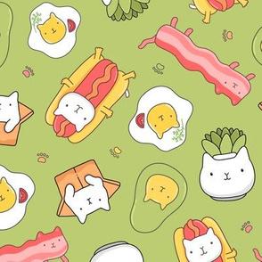 Cat hotdog, cat succulent, cat avocado, egg cat, bacon cat GREEN.
