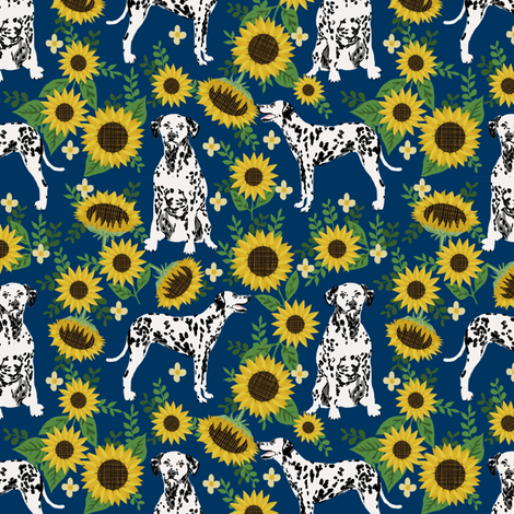 dalmatian sunflower fabric - dogs and florals design cute dog design - navy fabric by petfriendly on Spoonflower - custom fabric