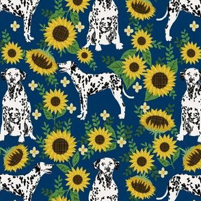 dalmatian sunflower fabric - dogs and florals design cute dog design - navy