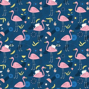 Flamingos and white cat on dark blue