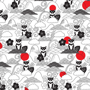 Black Shiba inu pattern. Cherry flowers, doodles clouds, red sun.