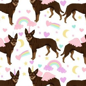 kelpie unicorn fabric - cute australian kelpie dogs pastel dog pegasus unicorns design - white
