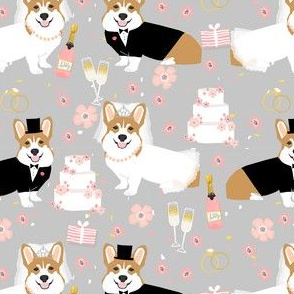 corgi wedding fabric - cute corgis getting married florals, celebration, spring, summer dog design - grey