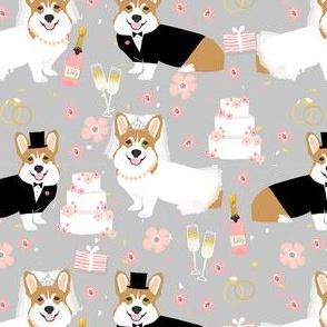 corgi wedding fabric - cute corgis getting married florals, celebration, spring, summer dog design - grey