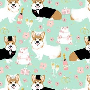 corgi wedding fabric - cute corgis getting married florals, celebration, spring, summer dog design - mint